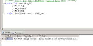 Gérer ses mails dans une base SQL sur K2 Blackpearl