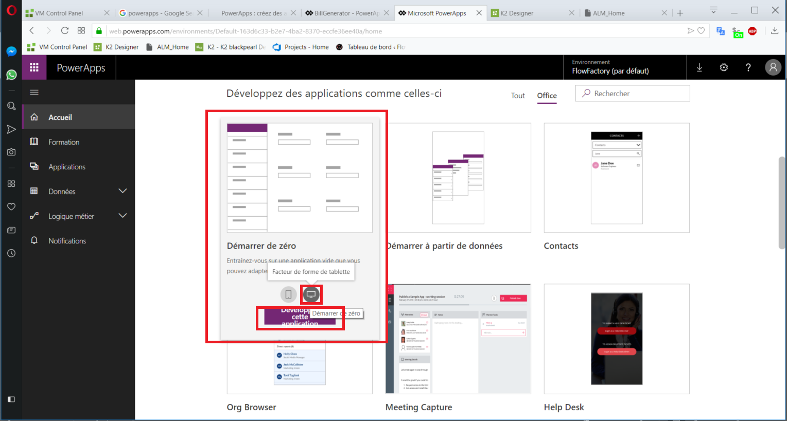 Lancer PowerApps / Flow Factory