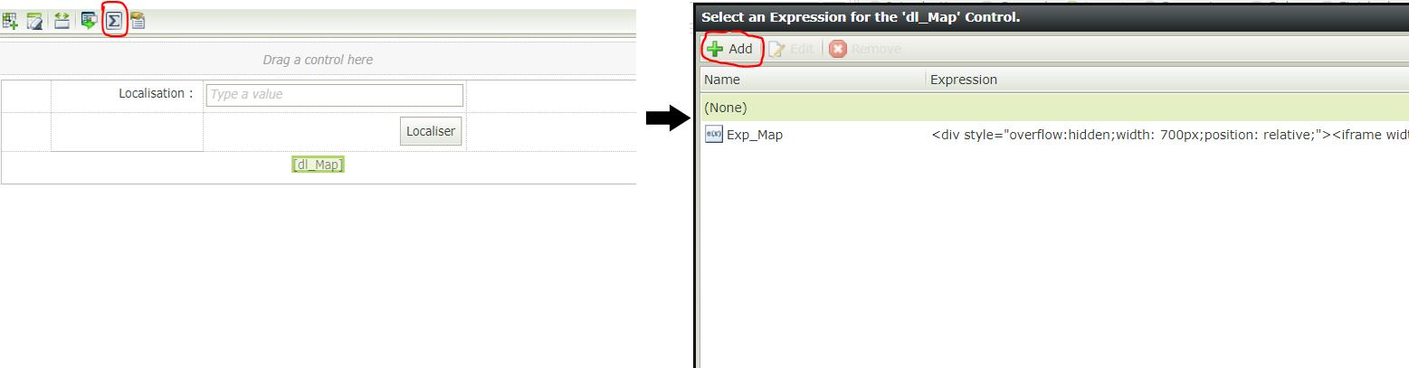 Affichage de la carte de localisation - Création de l'expression